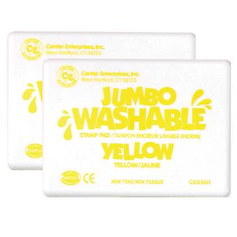 Jumbo Washable Unscented Stamp Pad, Yellow, Pack Of 2