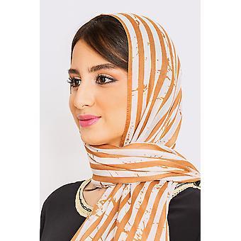 Women's lätta randiga huvudduk i kameltryck