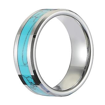 Classic 8mm Tungsten Carbide Ring Blue Turquoise High Hardness Engagement Rings