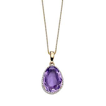 Elements Gold Ladies' 9ct Yellow Gold Amethyst & Diamond Rounded Shape Pendant Necklace of Length 41-46cm
