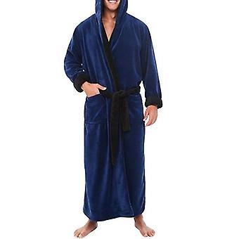 Men Bathrobe, Flannel Hooded, Thick, Casual, Winter Autumn Long Kimono Robe,