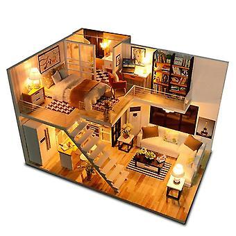 家具が導かれた家のミニチュア、音楽のダストカバー、モデルのビルディングブロック