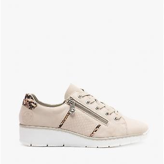 ريكر 53711 السيدات الجلود أحذية عارضة البيج