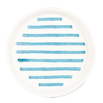 Blue Stripe Side Plate Patterned Porcelain Snack Dessert Dishes 21.5cm