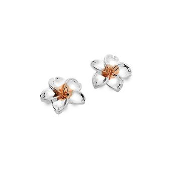 Sterling Silver Stud Earrings - Origins 5 Petal Flower + Rose Gold Plated