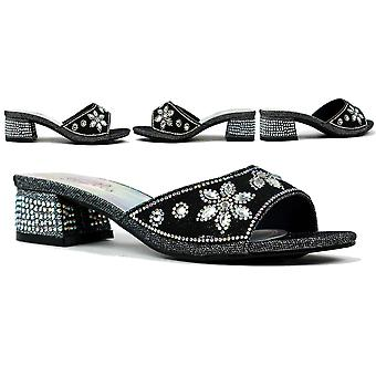 Flower Stone Diamante Block Heel Black