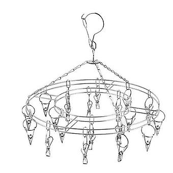 Stainless Steel Round Hanging Drying Rack With 20 Clips For Drying Socks
