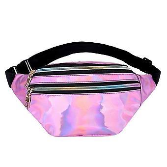 Women's Belt Bag, Geometric Waist Packs Laser Chest Phone Pouch