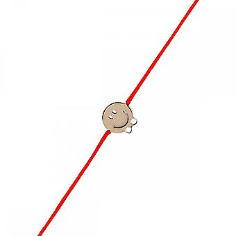 Smiley pink vermeil cord bracelet and red cord 'apos; Pap's knot;
