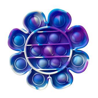 Stuff Certified® Pop It - Washed Fidget Anti Stress Toy Bubble Toy Silicone Flower Blue