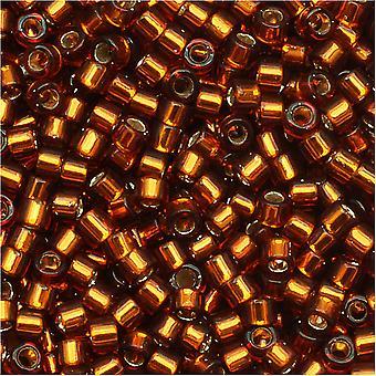 ميوكي ديليكا بذور الخرز، 11/0 الحجم، 7.2 غرام، الفضة اصطف العنبر DB144
