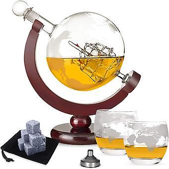 HanFei Whisky Karaffe Globus für Alkohol,Whisky Steine Set - 9 Eiswürfel wiederverwendbar aus Basalt