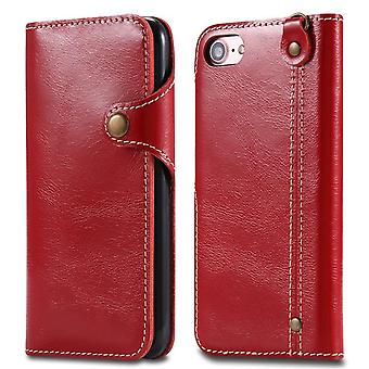Genuine leather wallet case card slot for iphone7 /8 red buttons no4457