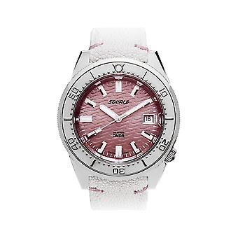Squale 1521PINK Onda Automatic White Leather Wristwatch