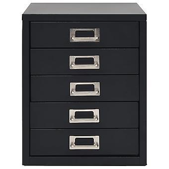 vidaXL archiefkast met 5 lades metaal 28 x 35 x 35 cm Zwart