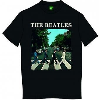 The Beatles Abbey Road & Logo Heren Zwart T Shirt: Groot