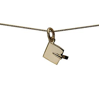 9ct Gold 9x9mm Graduation Cap Pendant with a curb Chain 16 inches Only Suitable for Children