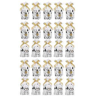 1 تعيين 50pcs عيد الميلاد تحت عنوان تصميم Drawstring حقيبة حلوى حقيبة التعبئة كيس الخبز كعكة الحقيبة (الأبيض الأسود الذهبي)