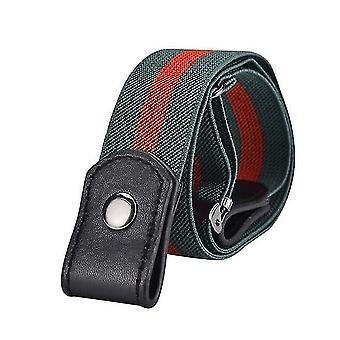 Buckle-free Belt Invisible Elastic Waist Belts Adjustable Stretch Belt For Jean Pants(Green Red