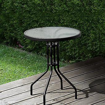 Patio Rond Verre Top Ourdoor Table - Noir
