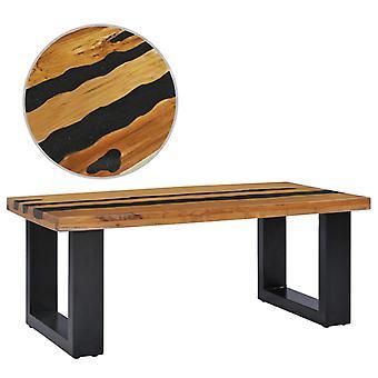 vidaXL soffbord 100×50×40 cm teak massivt trä och lavasten