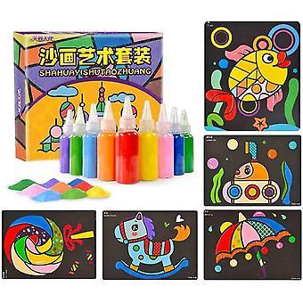 26 Packungen Sand Malkarten Kunst Kinder Färbung DIY Papier Bastelset mit 10 Flaschen Sparky Glitter