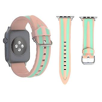 Silicone dual watch band for Apple Watch Series 3 & 2 & 1 38 mm Pink and green