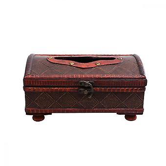 Vintage Wooden Tissue Box Desktop Napkin Case Household Paper Storage Box Decorative Crafts Container For Home Living Room (plaid Pattern)