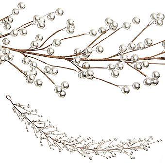 1.3m Berry Garland Jul hem Floristry Dekoration - Silver