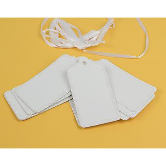 10 tarjeta blanca Rectángulo brillo bordeado etiquetas de regalo para decorar