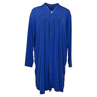 Susan Graver Suéter de Mujer Plus Liquid Knit Duster Blue A350141