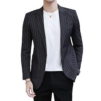 YANGFAN Men's Casual Pinstripe Suit Jacket Notch Lapel Classic One Button Blazer