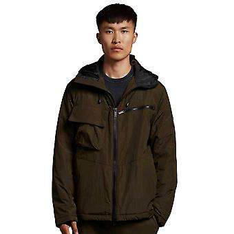 Lyle & Scott Casuals Wadded Dual Pocket Jacket with Face Guard - Olive