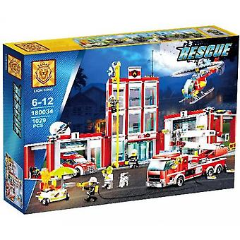 Compatible con 180034 82038 City Series Fire Station Small Particles Assembled And Inserted Building Blocks Juguetes para niños