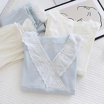 2021new Spring And Summer 100% Cotton Knitted Pajamas Two-piece Ladies