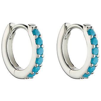 Boucles d'oreilles Beginnings Open Circle Hoop - Argent/Turquoise