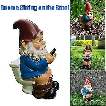 الحديقة الحلي حديقة المنحوتات غنوم قراءة الهاتف على ديكور تمثال حديقة المرحاض