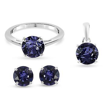 J Francis Engagement Kabale Smykker Sæt Q Blå Krystal i Sølv