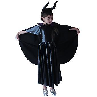 Kids Girls Halloween Evil Queen Witch Costume Malévola Fantasia Vestido Fantasia