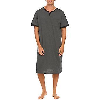 Yunyun Men's Solid Color V-neck Short Sleeves Comfortable Pajamas Robe Nightdress