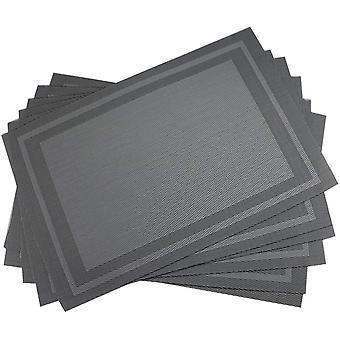 Set de manteles de 6 cuadros a cuadros gris plateado resistente al calor Mantel antideslizante de PVC para mesa de comedor Mesa de vinilo tejido duradero Mancha de vinilo manteles