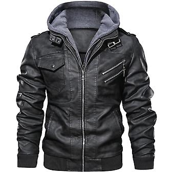 ブラック レトロ 対角ジッパー オートバイ Pu レザー ジャケット メンズ 秋冬ジャケット
