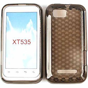 Boîtier en silicone souple en caoutchouc cellulaire illimité pour Motorola XT535/ Defy XT (Trans. Smoke)