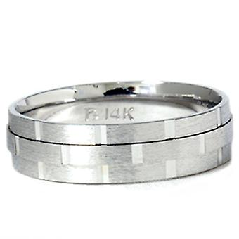 6MM χέρι σκαλιστό γαμήλια μπάντα 14K λευκό χρυσό