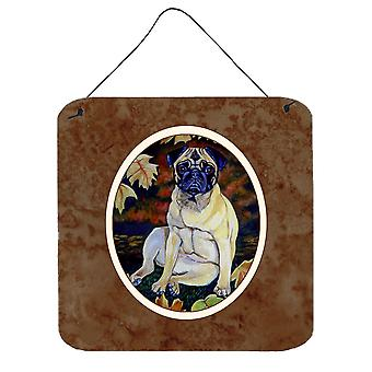 Fawn Pug in Fall Leaves Wall or Door Hanging Prints