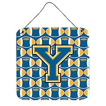 Buchstabe Y Fußball blau und Gold Wand oder Tür hängen Drucke