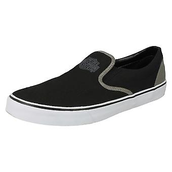 Mens Harley Davidson Casual Slip On Pumps Marchmont D93320 - Black/Grey Textile - UK Size 7.5M - EU Size 42 - US Size 8.5