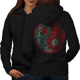 Symbol Dark Light Japan Women BlackHoodie Back | Wellcoda