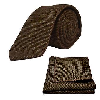 Krawat brązowy rekina & placu kieszeni zestaw