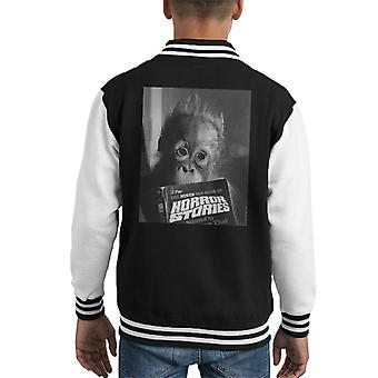 Orangutan Reading Horror Stories 1974 Kid's Varsity Jacket
